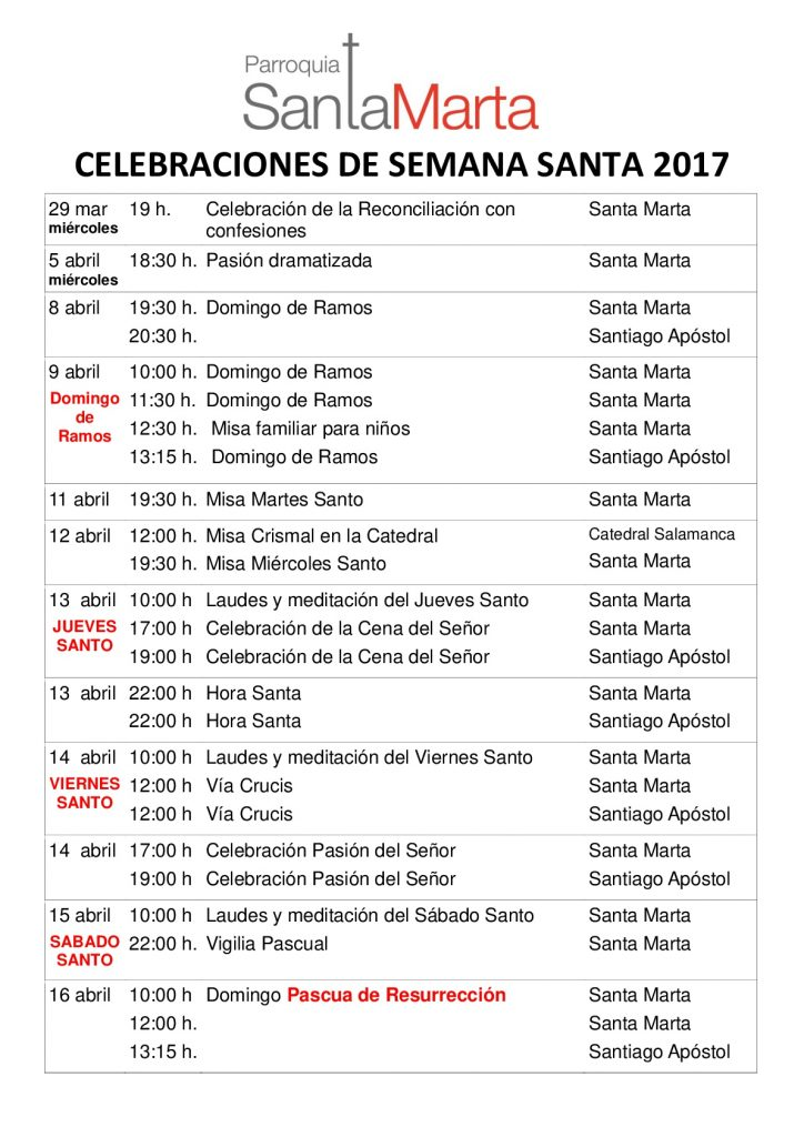 CELEBRACIONES DE SEMANA SANTA 2017 Parroquia Santa Marta-001