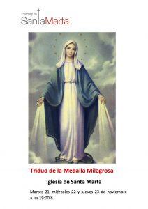 Triduo de la Medalla Milagrosa 2017